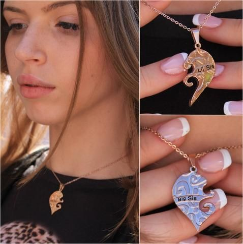 Gold Necklace Big Sis & Lil Sis Sister , Heart Gold Pendant Necklaces Set (2pcs) - TZARO Jewelry - 2