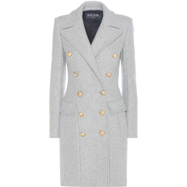 Balmain Virgin Wool and Cashmere Coat (23.935 HRK) ❤ liked on Polyvore featuring outerwear, coats, grey, balmain, gray coat, grey coat, balmain coat and cashmere coat