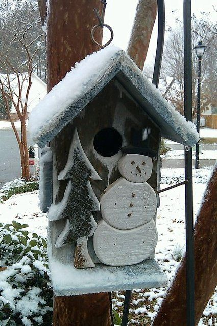 """the Snowman house - too cute to let the birds in - maybe paint the """"hole"""" on, or use indoors"""