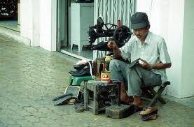 repairing shoes..