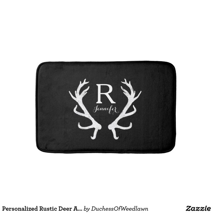 Personalized Rustic Deer Antlers Monogram Bath Mat