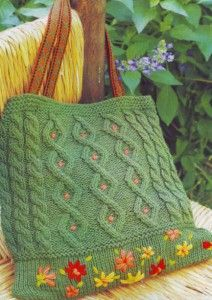 "Зеленая вязаная сумка с вышивкой ""Весна"""