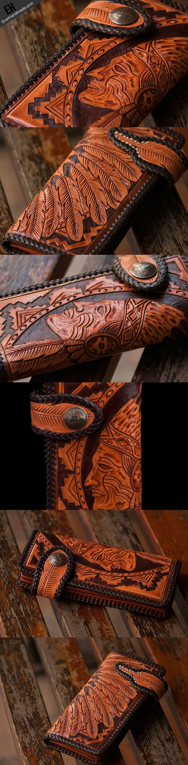 Handmade brown coffee leather indian carved biker wallet bifold long w | EverHandmade