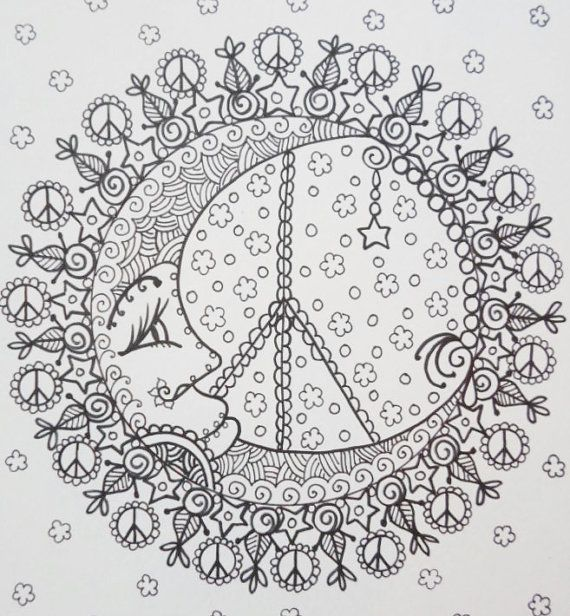 Peace mandalas coloring book page colouring adult for Peace sign mandala coloring pages