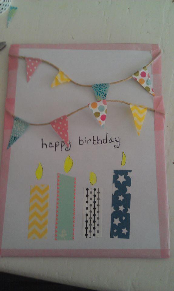 Maak je eigen verjaardagskaart met behulp van gekleurd papier, een touwtje en washitape!