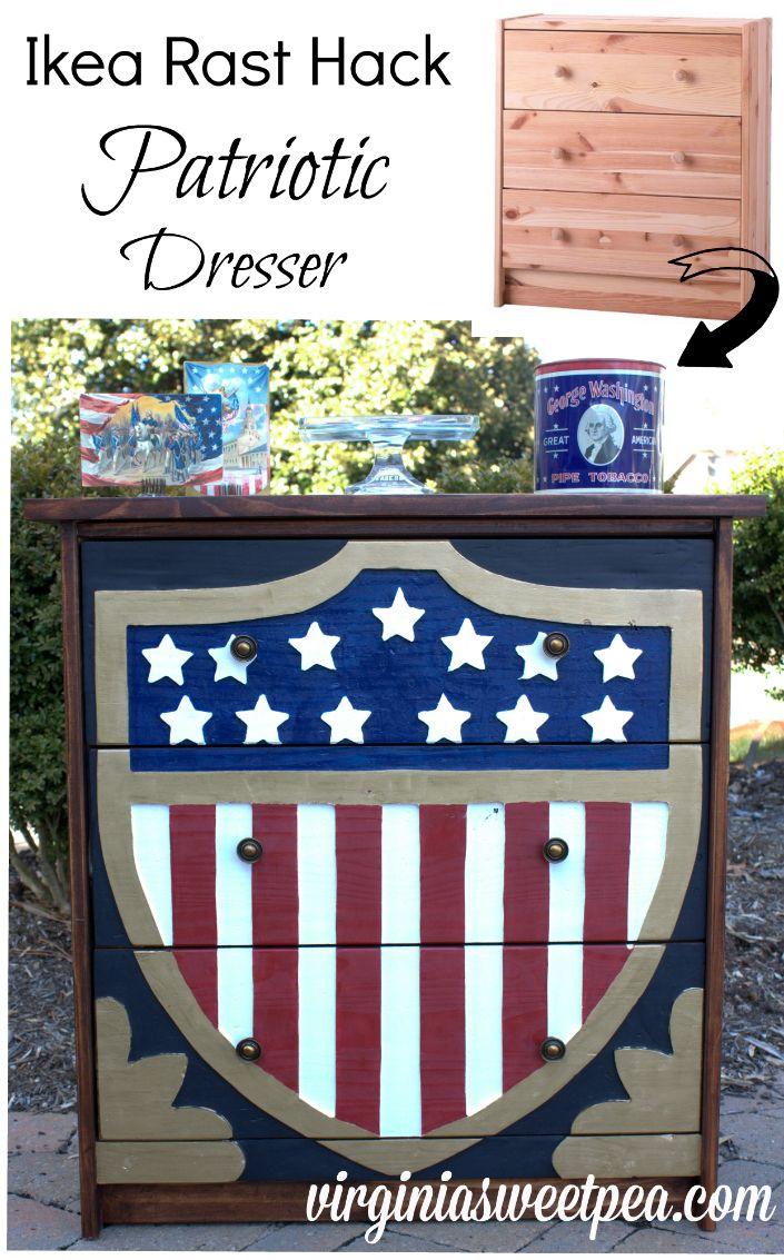 Patriotic Dresser – Ikea Rast Hack - virginiasweetpea.com
