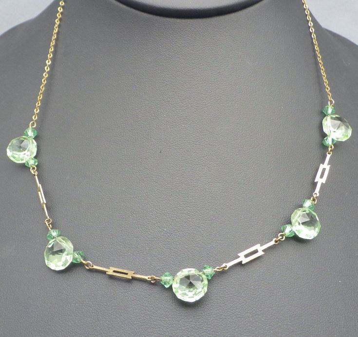 Art Deco, 1920s Fancy Faceted Crystal Station Necklace, Chrysophase Green!