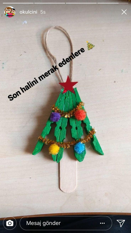 Clothespin tree ornament