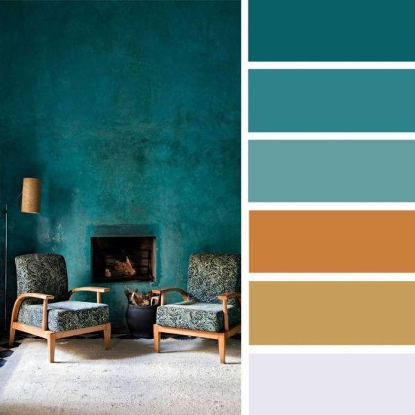 100 Color Inspiration Schemes : Brown + Gold + Teal Color Palette #colorpalette #palette #colors by alyce