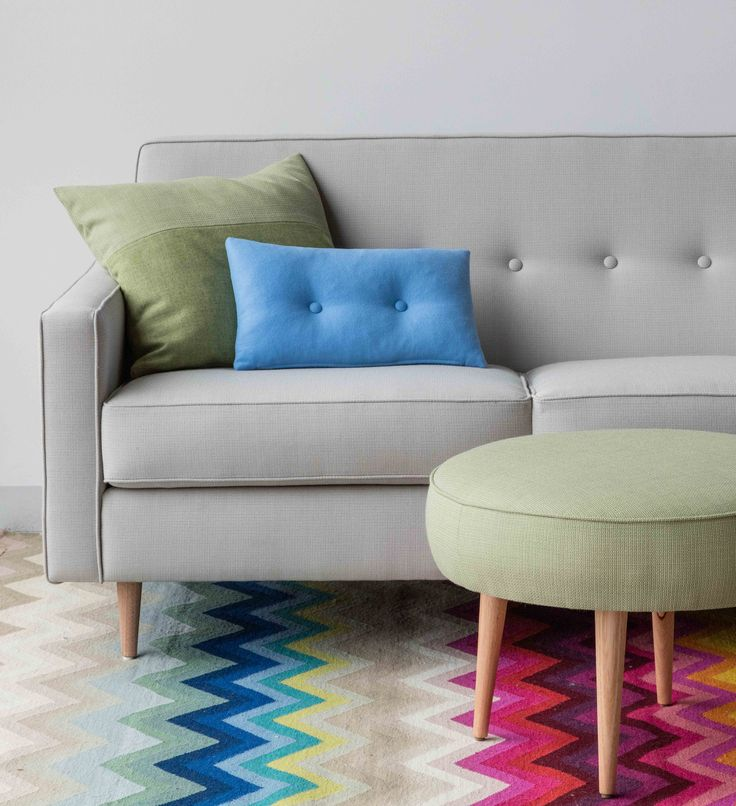 Tonic sustainable textile by Instyle - New muted pastel and saturated tones in this versatile classic texture from the LIFE Textiles collection upholstered on the Dalton sofa and ottoman by Southwood and Black Thread cushions