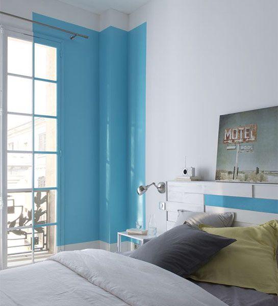 Un effet trompe l il plus vrai que nature avec ce rideau for Peinture bleu turquoise chambre