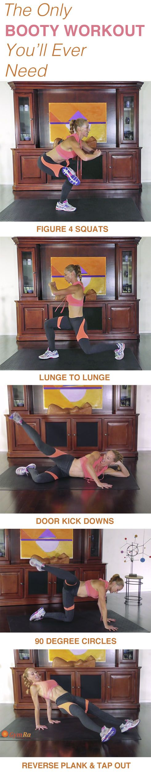 Try our at home booty routine by Julia Bognar for a sculpted, lifted, and rounded behind! Click the above image to see the moves demonstrated. Try GymRa free for a month. NO CREDIT CARD REQUIRED!