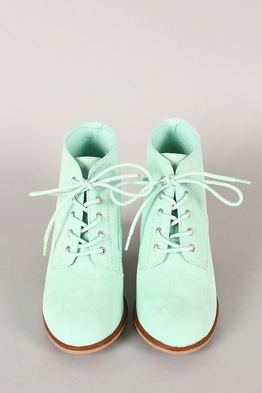 In love with these seude style lace up booties and they are under $35!