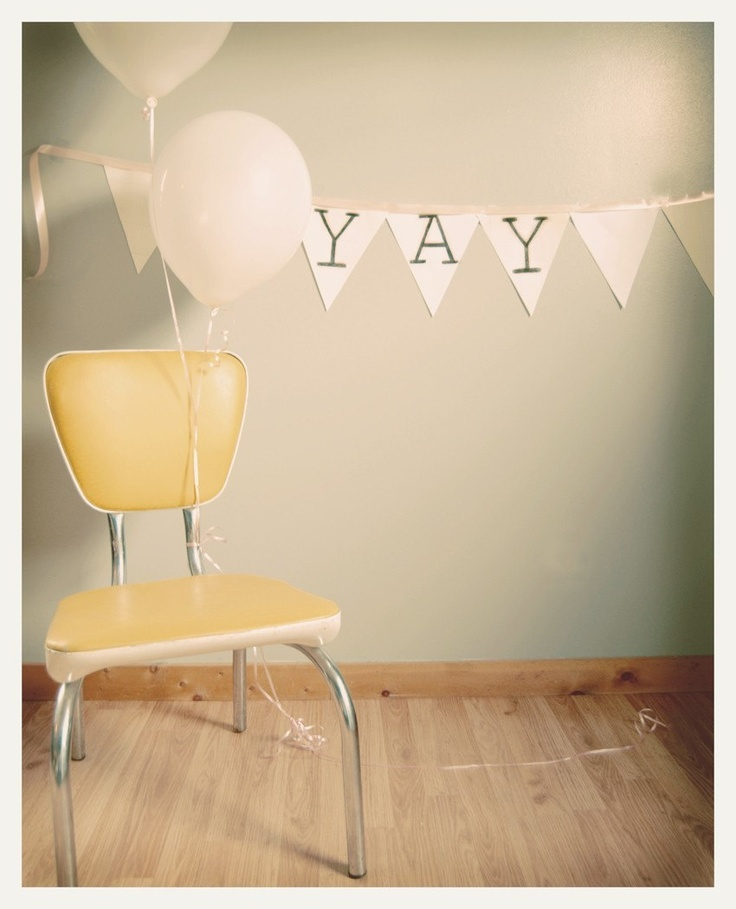 Modest 5x7 Fine Art Print--Birthday Party Balloons Yay Vintage Yellow Chair Cheerful Photograph. $14.00, via Etsy.