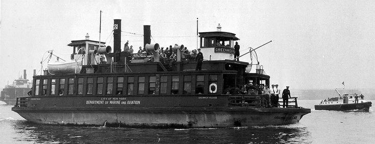 Municipal ferry Greenwich Village transporting Rikers Island inmates to Hart Island, circa 1954