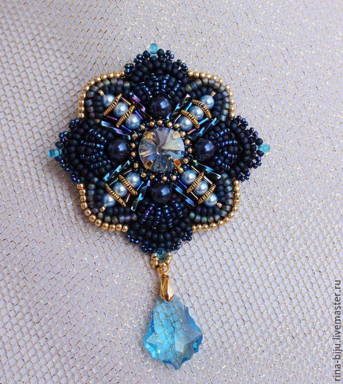 """Купить Брошь-орден """"Baroque"""". - темно-синий, брошь, орден, брошь ручной работы"""
