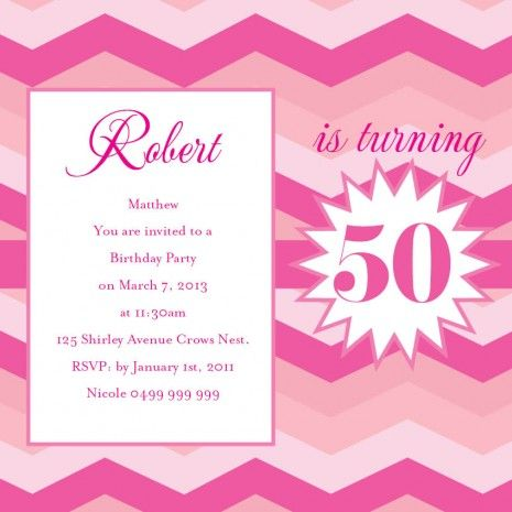 107 best 50th Birthday Invitations images on Pinterest 50th