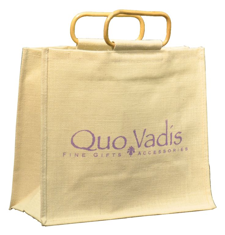 Jute bag with bamboo handle. Natural look and feel. Great for a gift with purchase or resale bag. Will last for years.