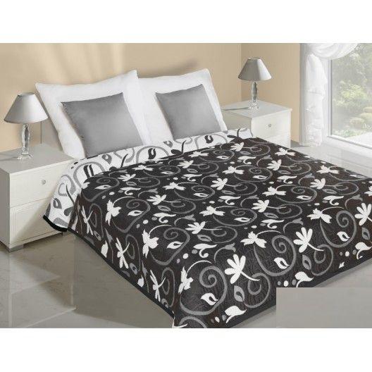 Obojstranné prehozy na posteľ čiernej farby s bielymi listami