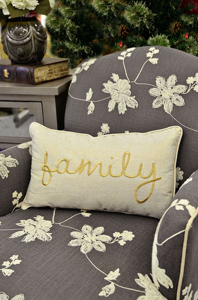 "Sweet stitched ""family"" pillow #treasuredgift $14.99 at Tuesday Morning.  Compare to $28 at other retailers"