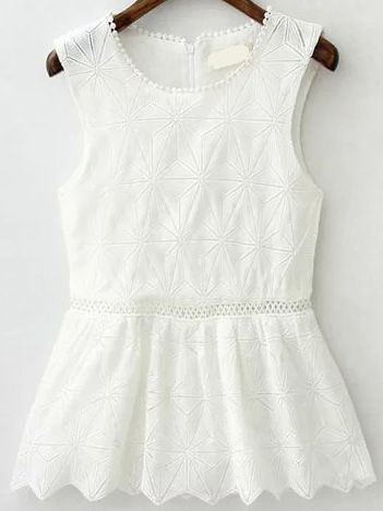 Sleeveless Hollow Scalloped Hem Lace Top