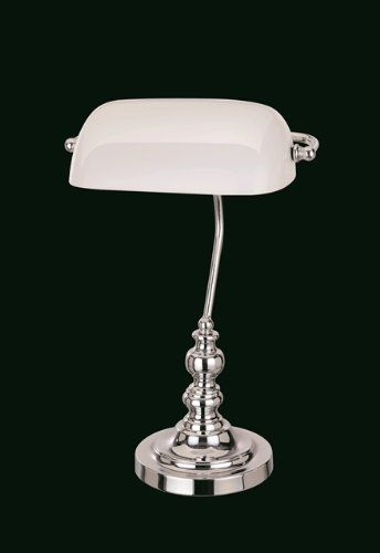 828 kr. Bankers Table Lamp With White Glass Shade Chrome Winfield Interiors http://www.amazon.co.uk/dp/B00EPFMT1Y/ref=cm_sw_r_pi_dp_.qC3wb03KAP4H