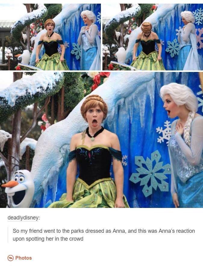 Elsa is all excited too and Olaf don't give a shit