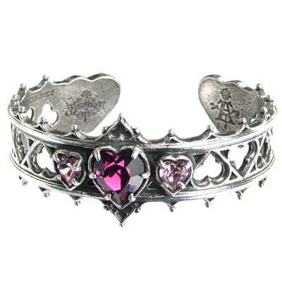 Silver bracelet with purple heart
