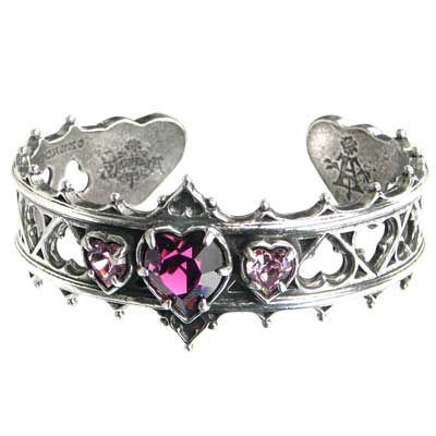 Silver bracelet with purple heart