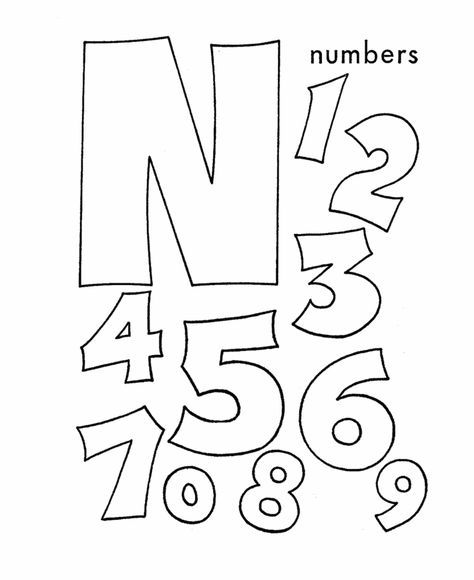 abc coloring sheet letter n is for numbers - Coloring Pages Letters Numbers
