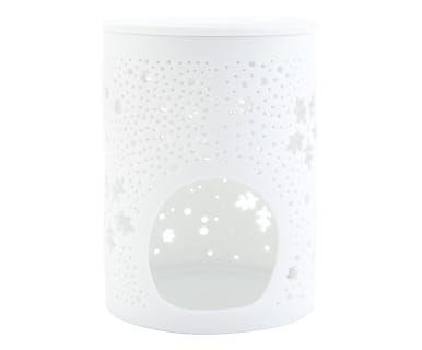Porta tealight in ceramica Stelline bianco, d 8/h 11 cm
