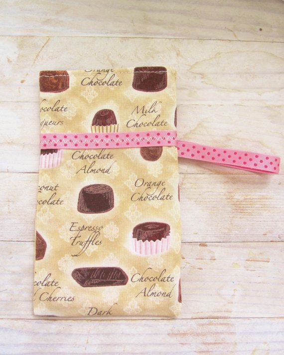 Mobile phone cell phone pocket pouch wallet case cover chocolate confections brown beige light pink dotted satin ribbon secured lined soft