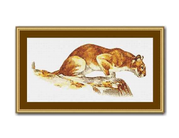 Mountain Lion Counted Cross Stitch Pattern / Chart, Cougar. Puma, Instant Digital Download  (AP377)
