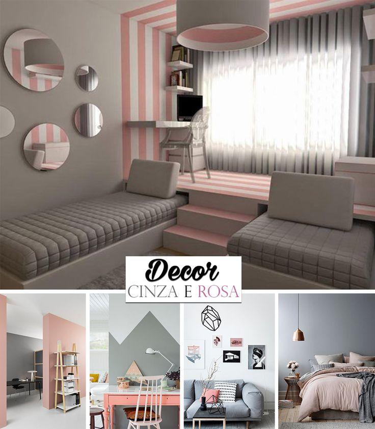 Inspiração de decoração nas cores cinza e rosa. O combo resulta em um ambiente super aconchegante.