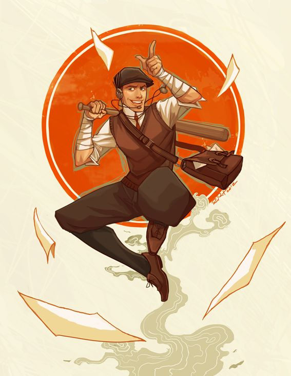 1920s version of TF2's Scout by Ramida-r [aka Ramida (Ploy) Rojanavipat]. All 9 classes were covered. This was just one of my favorites.