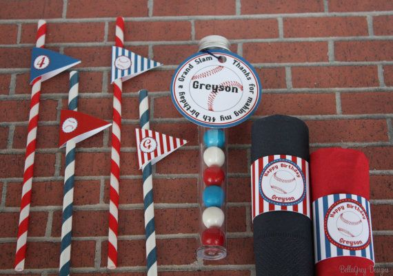 Baseball Birthday Party Straw Flag Tag by BellaGreyDesigns on Etsy