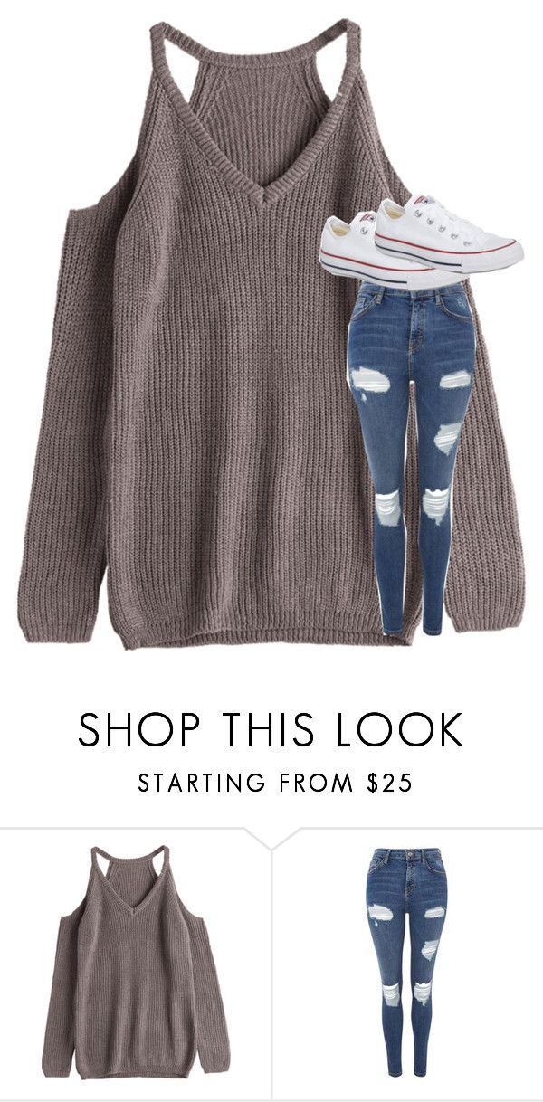 """Untitled #5175"" by laurenatria11 ❤ liked on Polyvore featuring Topshop and Converse"