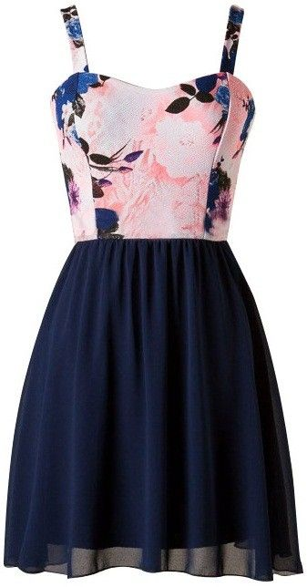 """Blue Floral Chiffon Dress   USTrendy. Adorable floral sweetheart cut top with strap sleeves and lined blue chiffon skirt. Top : 96% Polyester, 4% Spandex. Bottom : 100% Polyester. Length: 33"""" from shoulder to hem. Runs true to size. #ustrendy www.ustrendy.com"""