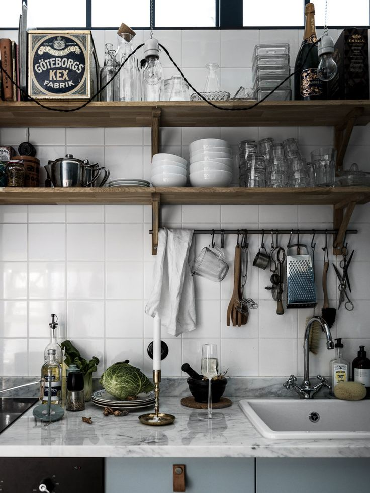 blue kitchen in Scandinavian style, decor inspiration and design