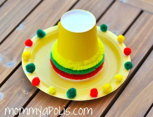 Paper Plate Sombreros -  plate with cup use pom poms, tissue paper, ANYTHING to decorate then have yarn to tie hat on