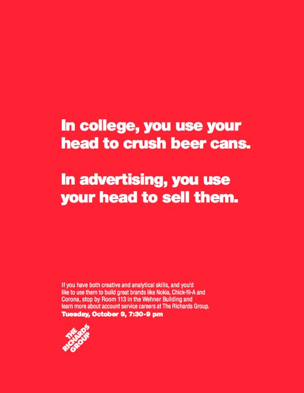 Richards Group College Recruitment - Print by Mike Fisher, via Behance