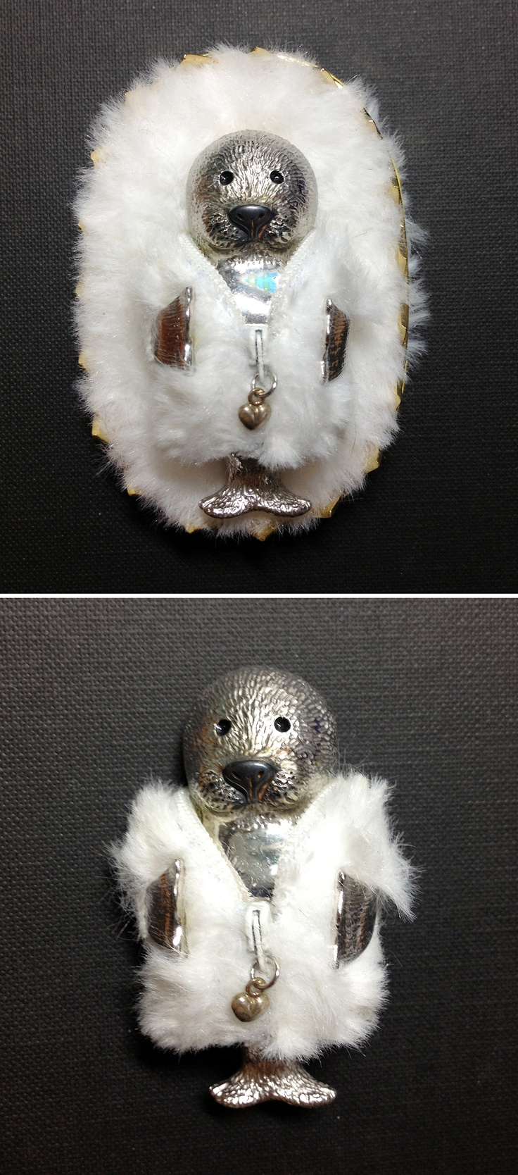 Brooch for Against Fur.   inspired by Harp seal My creative wax carving & design brooch. silver925 위기에 처한 동물들, 하프물범 이야기 왁스카빙 rescue aniaml