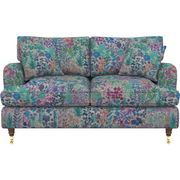 Multicoloured Compact Sized Small 2 Seater Sofa Liberty Fresco Lagoon... ($305) ❤ liked on Polyvore featuring home, furniture, sofas, compact furniture, colorful furniture, colorful couches, compact sofa and multi colored furniture
