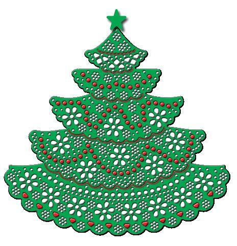 """Cheery Lynn Designs - DL142 - Juletre O TannenbaumO Tannenbaum Xmas tree er første doily juletreet.  Lagene kan fjernes/bryter frahverandre slik attreet kan gjøres mindre hvis ønskelig.  Lagenekan brukes til dekorativ pynt for andre applikasjoner! 3.625"""" x 3.375"""" (92mm x 86mm)."""