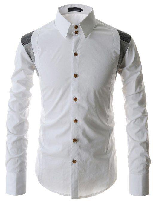 Showblanc (SBDST3) Man Slim Fit 2 Tone Colored Shoulder Casual Cotton Shirts at Amazon Men's Clothing store: