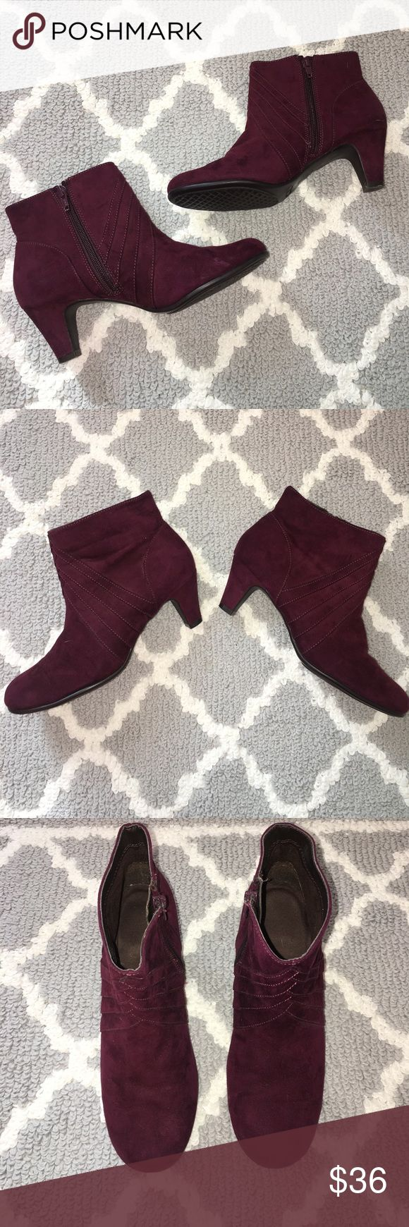 A2 Aerosoles wine burgundy zip booties A2 Aerosoles wine burgundy zip booties | size S | inside zipper | heel measures approximately 2.25"