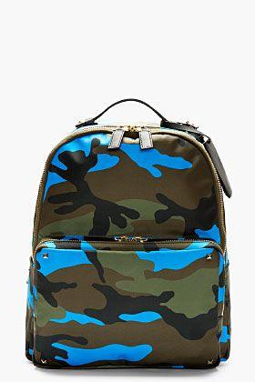 Valentino Olive Camo Backpack for men