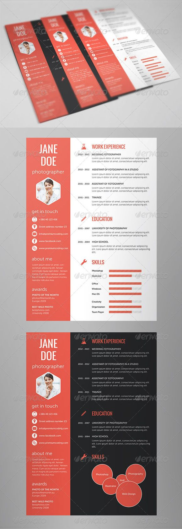 Check out Flat Resume Set in 5 Variations by PremiumCoding on Creative Market