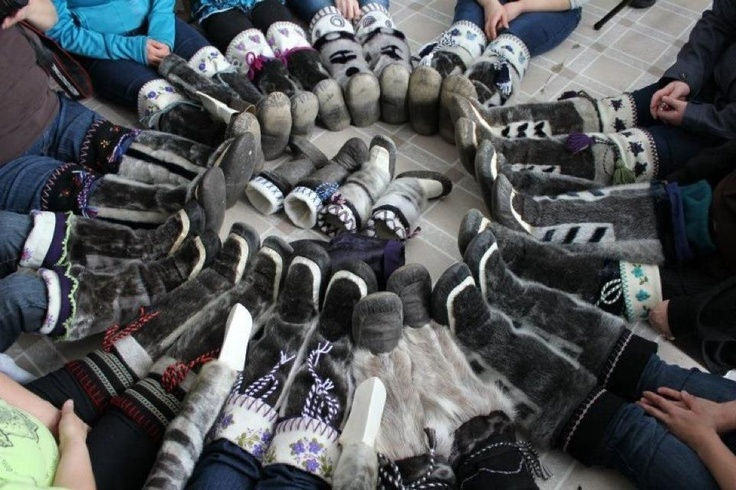 Lots of amazing Inuit w/ their handmade sealskin kamiks