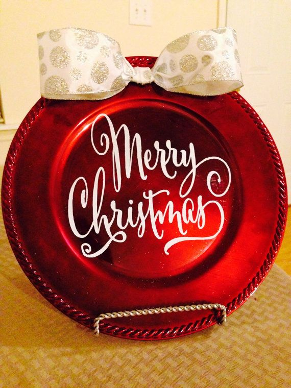 Merry Christmas Charger Plate by Handmadebyaprila on Etsy.  $10.00